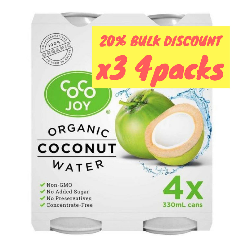 Organic Coconut Water 330ml Can - 4 Pack x 3 by Coco Joy
