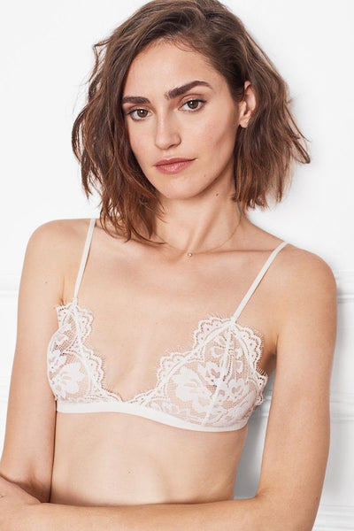 Floral Lace Bra in White