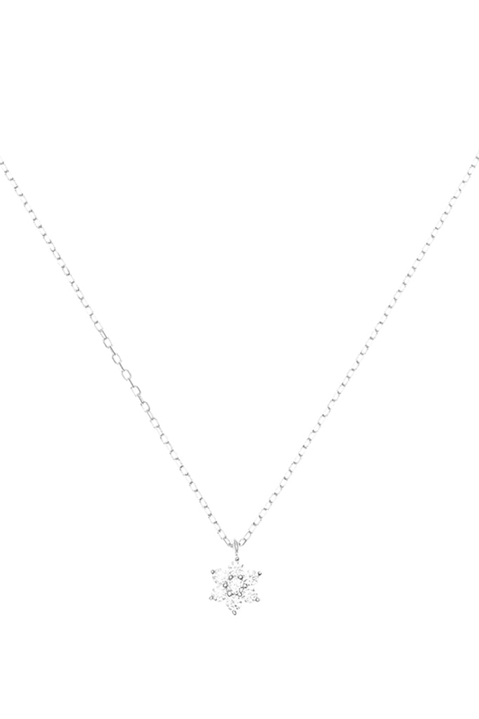 BYC 14K WHITE GOLD CRYSTAL LOTUS FLOWER NECKLACE