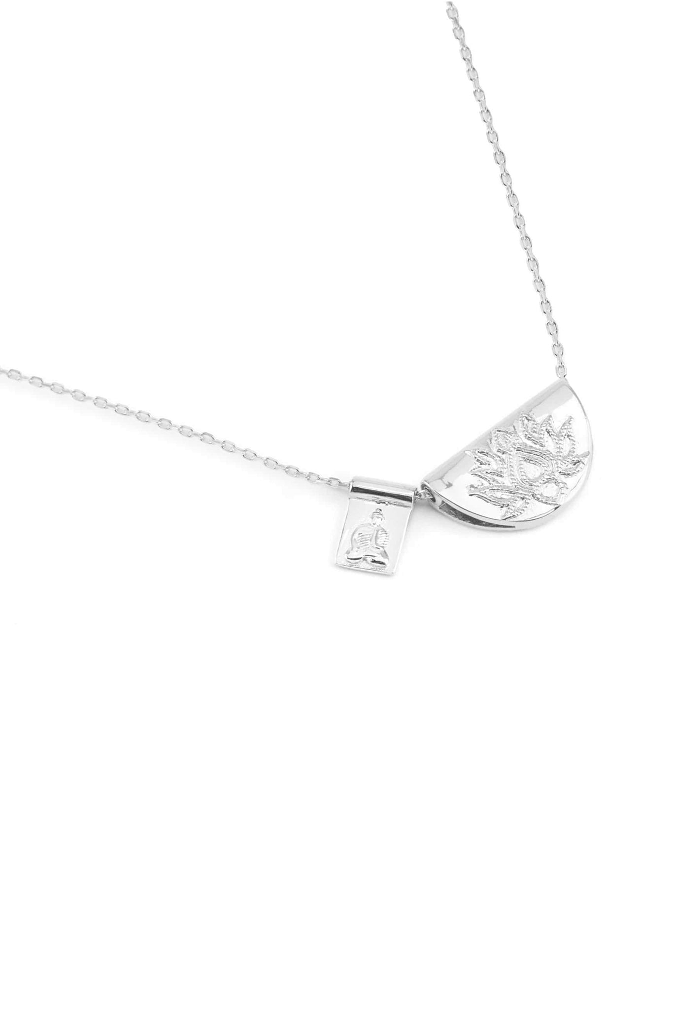 Silver Lotus & Little Buddha Necklace