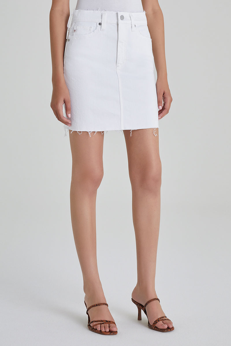 The Vera Denim Skirt (Retro White)