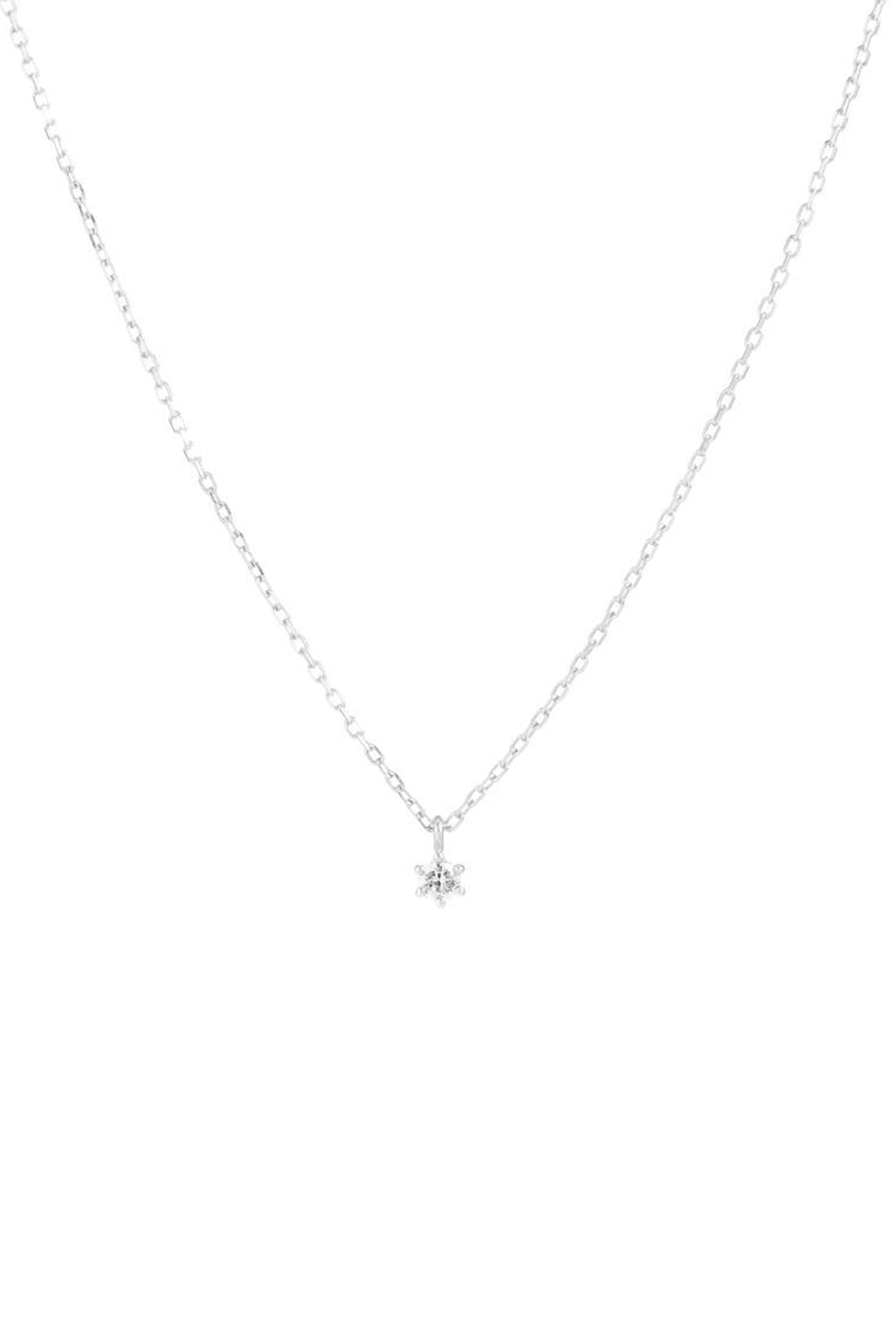 14k White Gold Sweet Droplet Diamond Necklace