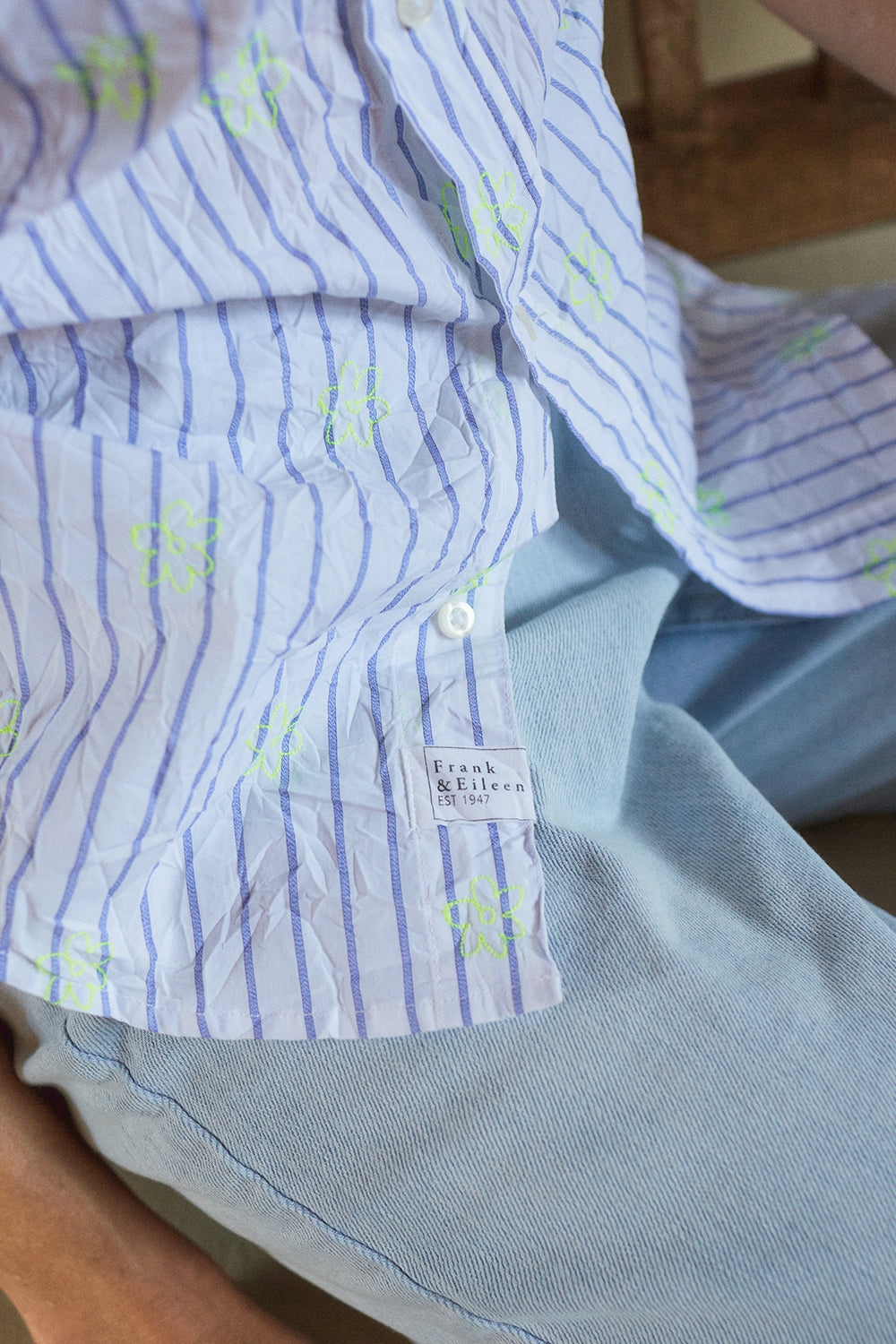 Barry Shirt - Neon Yellow Flower & Stripe
