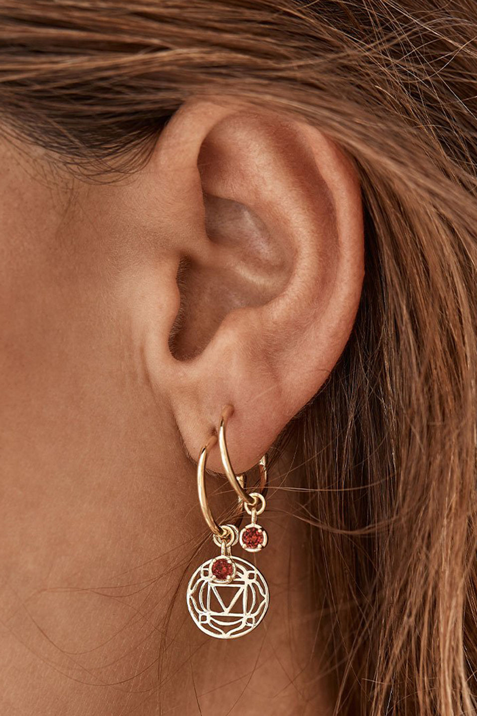 Gold I am Present Root Chakra Hoops