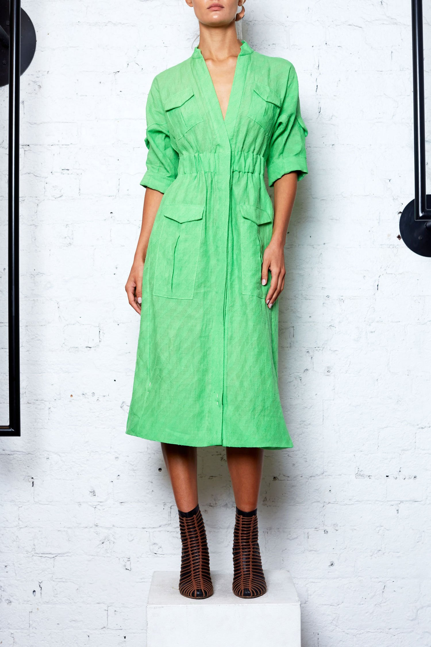 Linen Safari Dress - Green