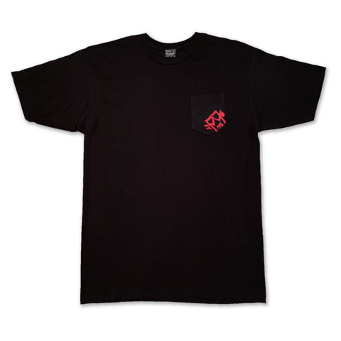 Drop Logo Pocket Tshirt Black - Pick Pocket Manufacturing