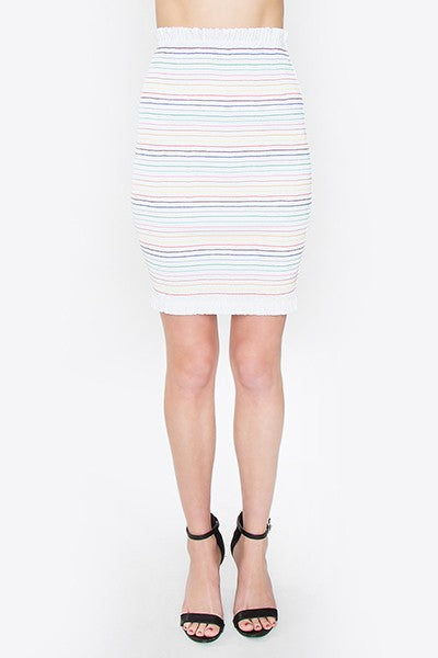 RAINBOW SMOCKED SKIRT