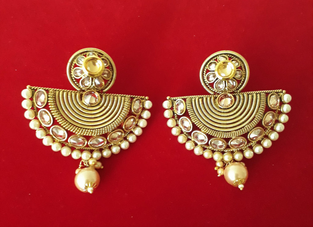Ornate Pearl and Gold Earrings - Bridges to Borders