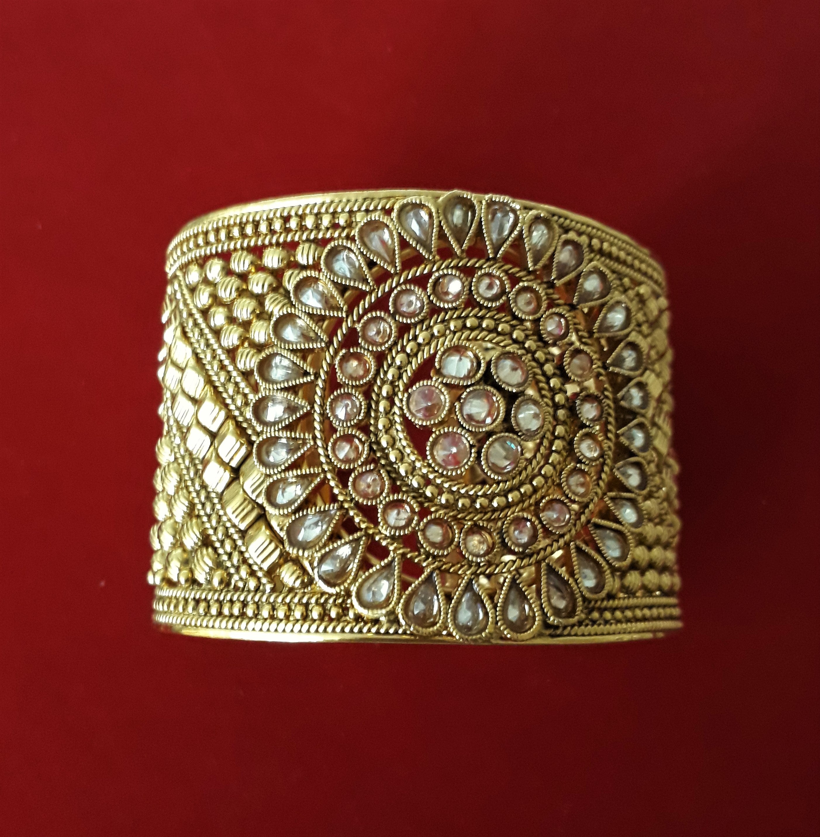 Gold Ornate Hand Cuff - Bridges to Borders