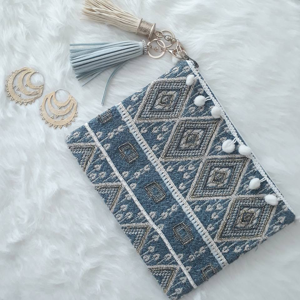 Blue Steel Tribal Print & Tassel Clutch - Bridges to Borders