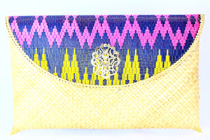 Handmade Colorful Metallic Ikat & Straw Clutch - Bridges to Borders
