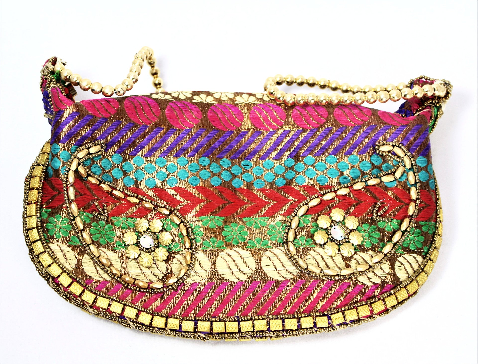 Handmade Metallic Paisley Print Bangle Bag - Bridges to Borders