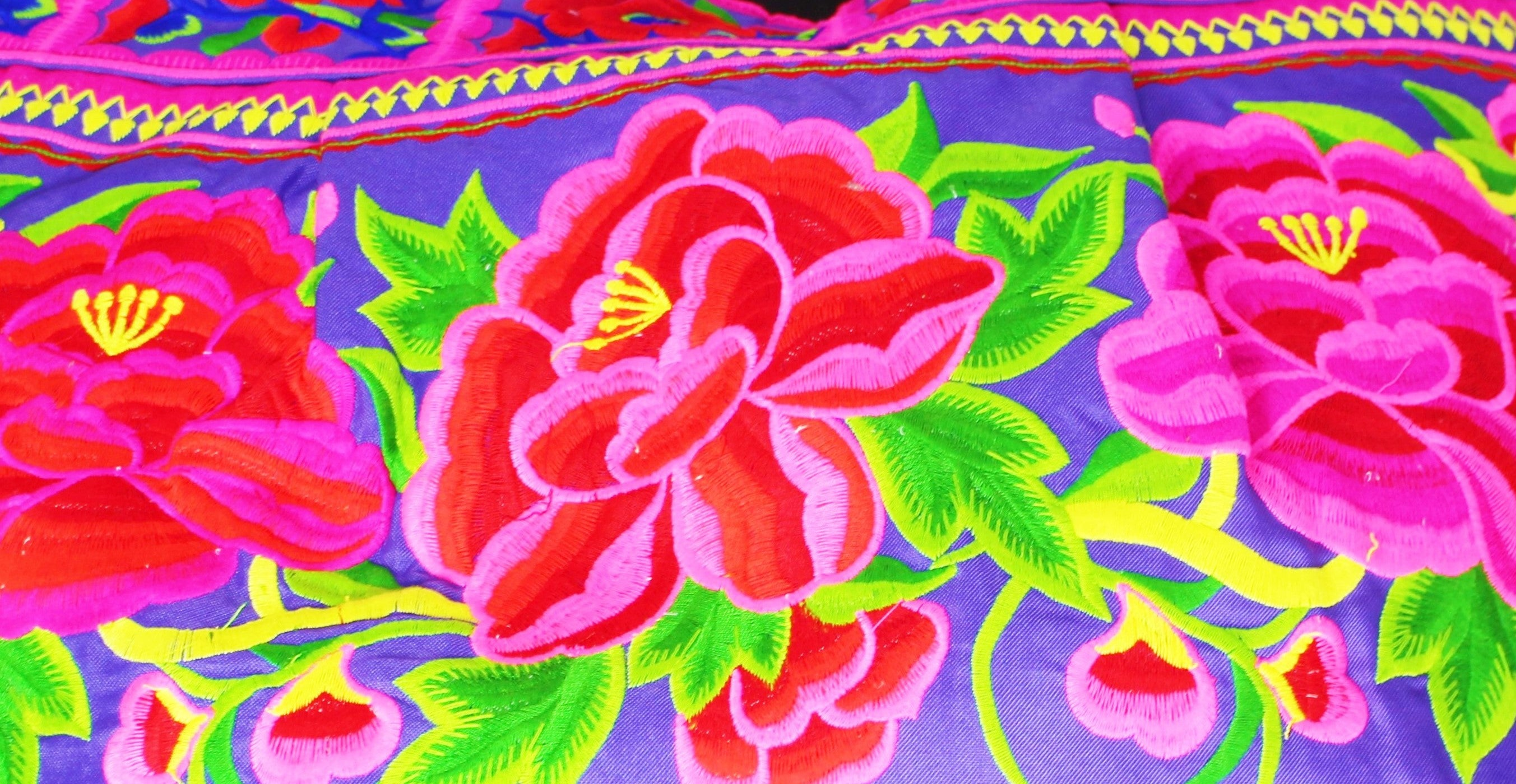 Violet Large Handmade Rose Embroidery Tote - Bridges to Borders