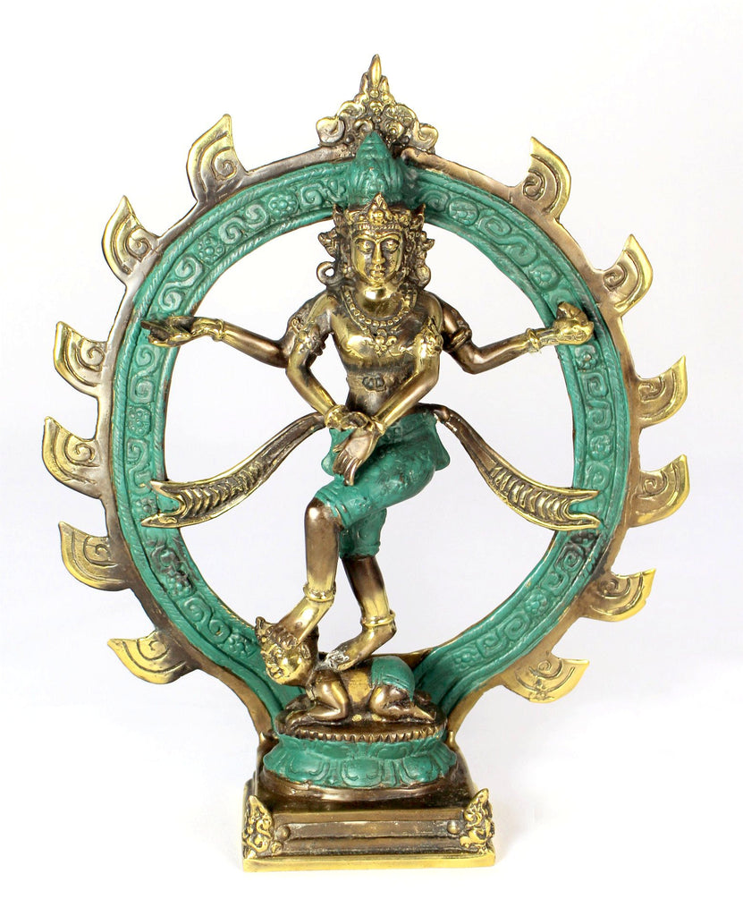 Deep Turquoise & Gold Handmade Shiva Statue - Bridges to Borders