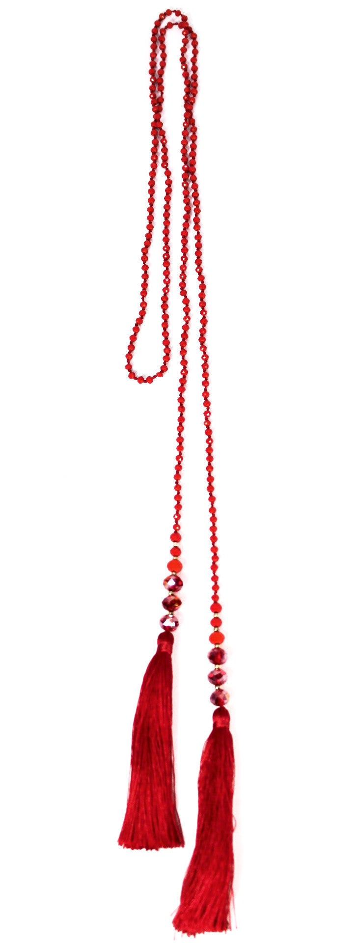 Red Beaded Double Tassel Necklace - Bridges to Borders