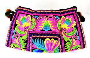 Neon Handmade Floral Embroidery Crossbody Bag - Bridges to Borders