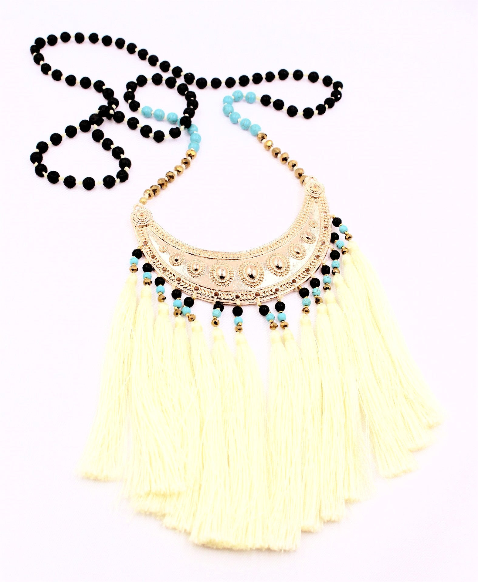 Citron Multi-Fringe Tassel & Beaded Necklace - Bridges to Borders