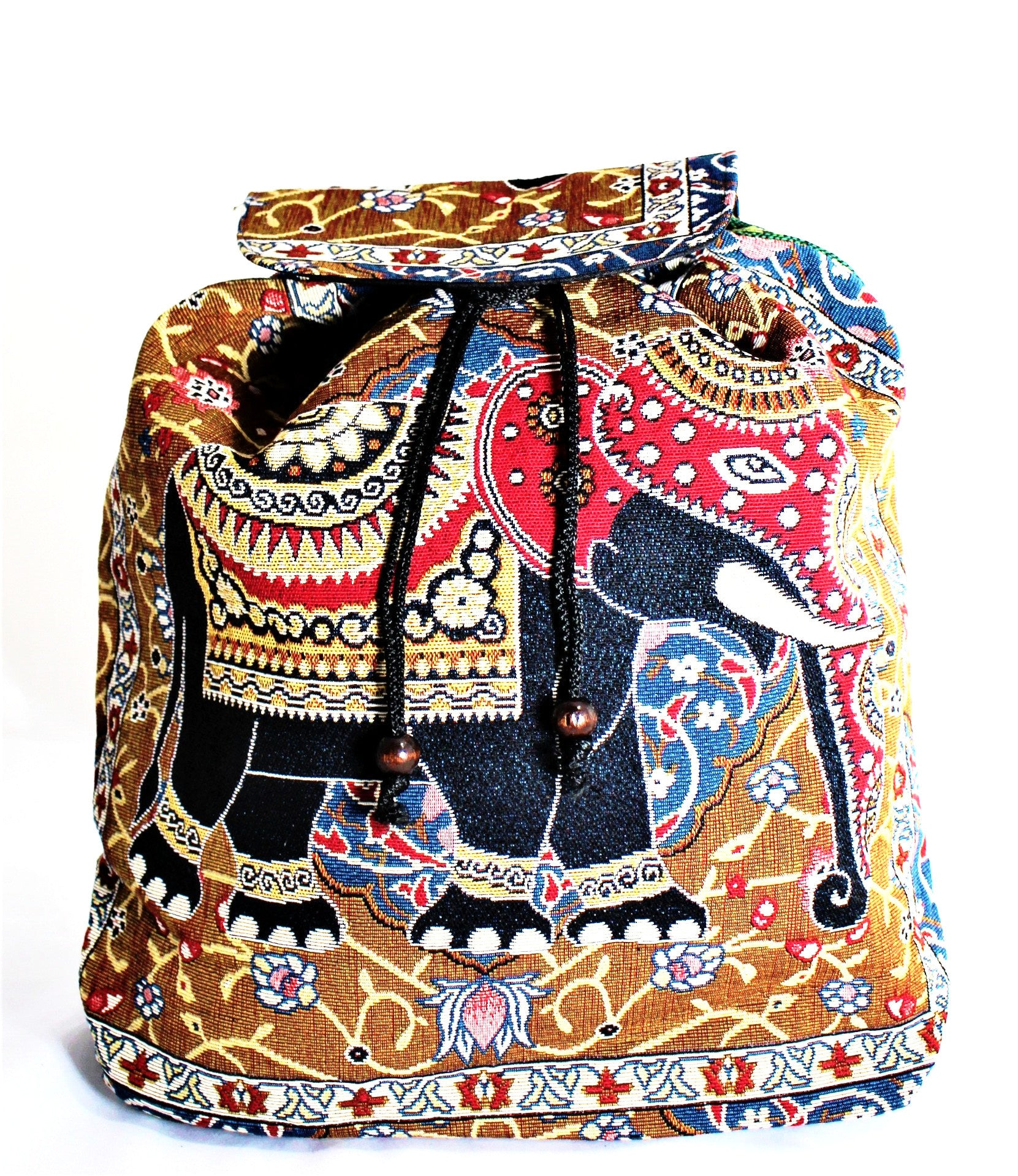 Elephant Print Embroidery Canvas Backpack - Bridges to Borders