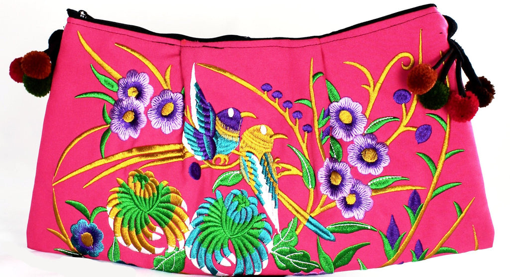Fuchsia Handmade Floral Embroidery Crossbody Bag - Bridges to Borders