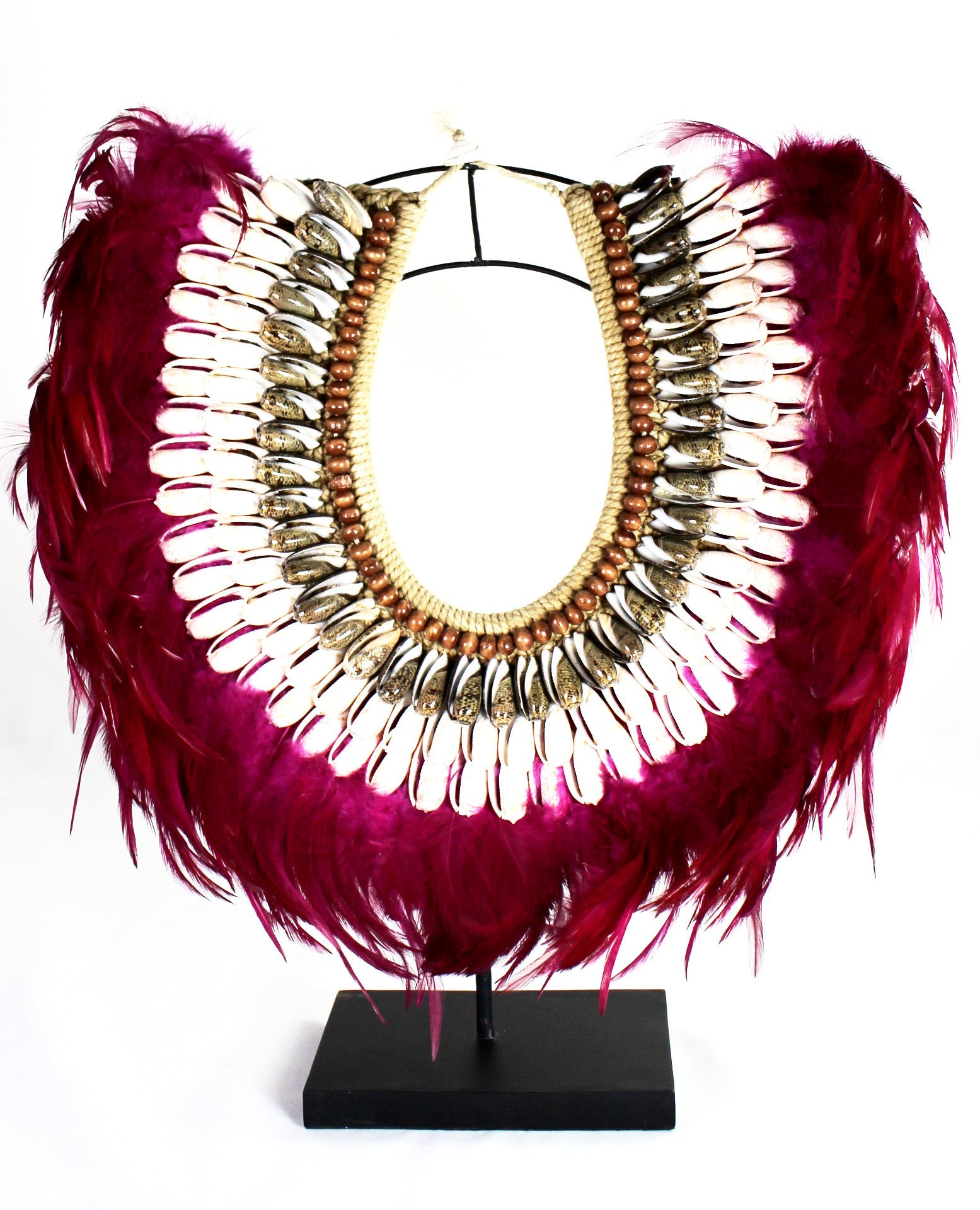 Handmade Tribal Fuchsia Feather & Shell Neck Collar - Bridges to Borders