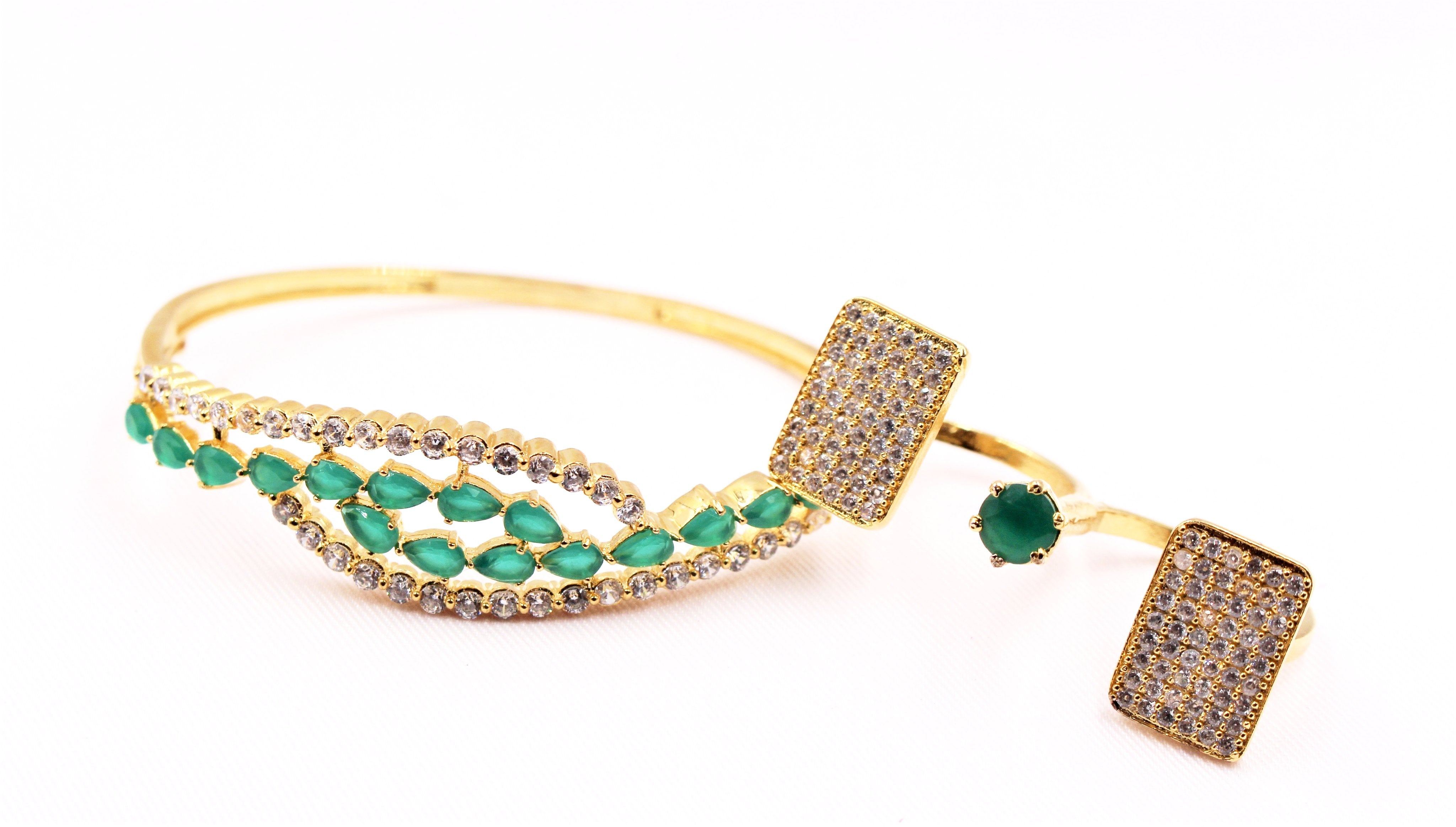 Emerald and Gold Plated Jewelry Duo - Bridges to Borders