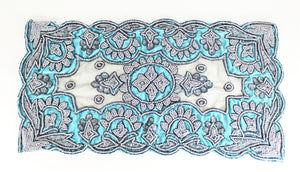Handmade Electric Aqua Beaded Tapestry Set (4 pieces) - Bridges to Borders