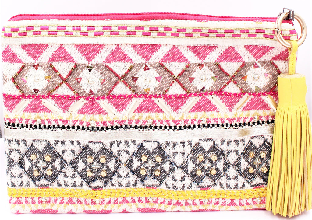 Mango & Fuchsia Tribal Tassel Clutch - Bridges to Borders