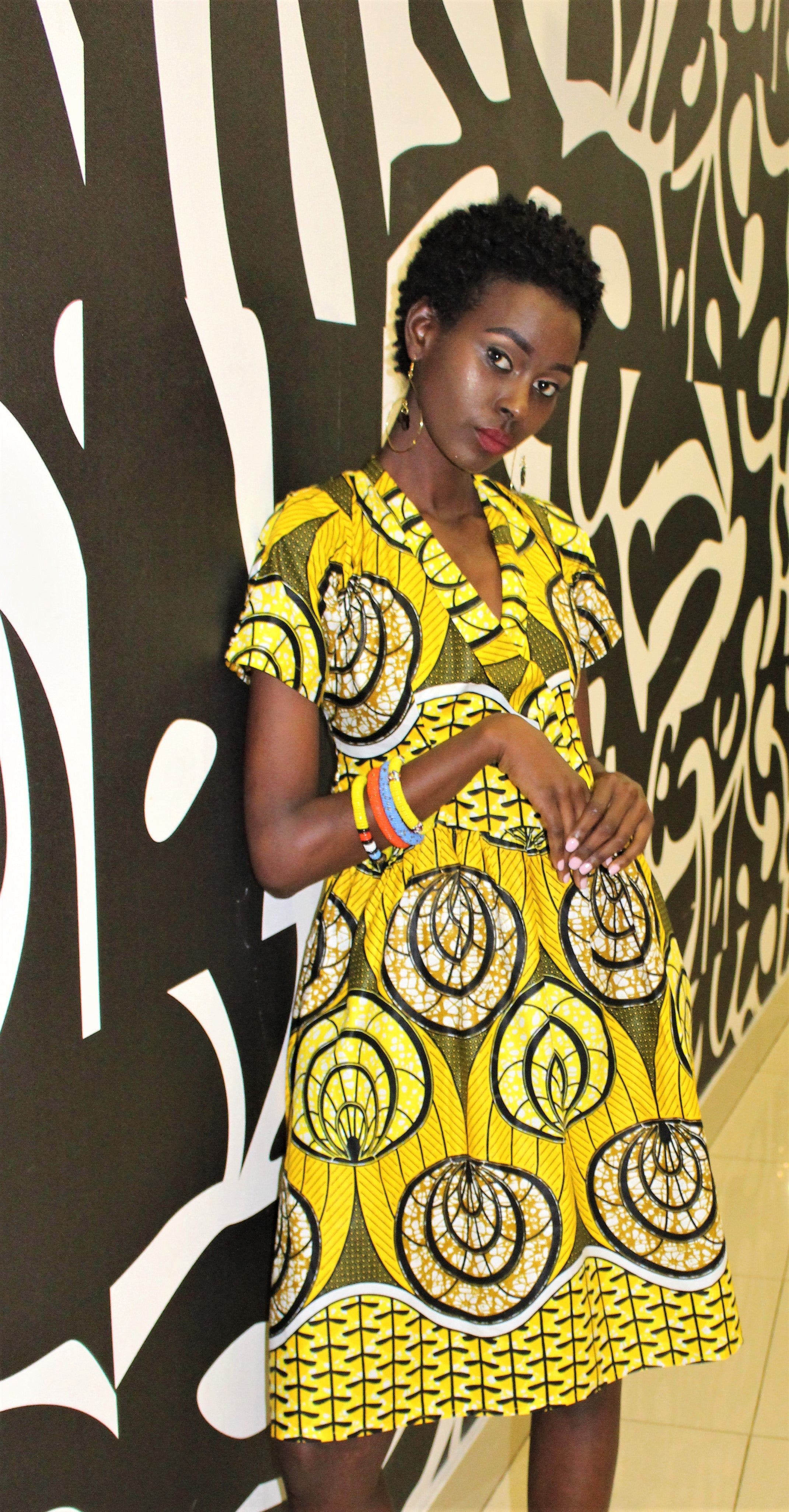 Yellow Printed Wrap Dress - Bridges to Borders
