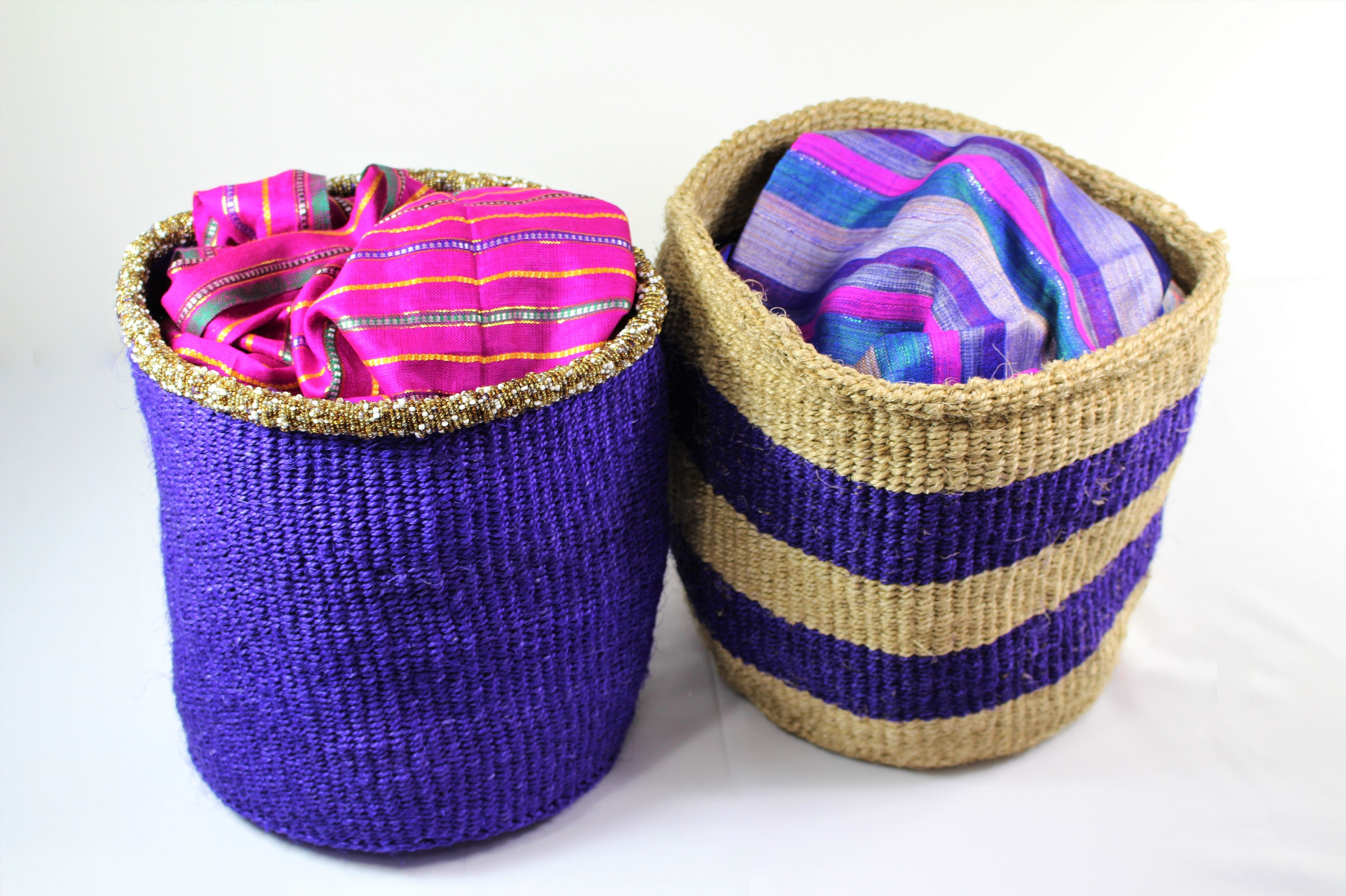 Striped Violet Handmade Woven Hand Basket - Bridges to Borders