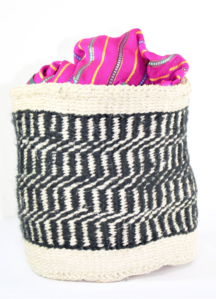 Black & Cream Handmade Woven Hand Basket - Bridges to Borders