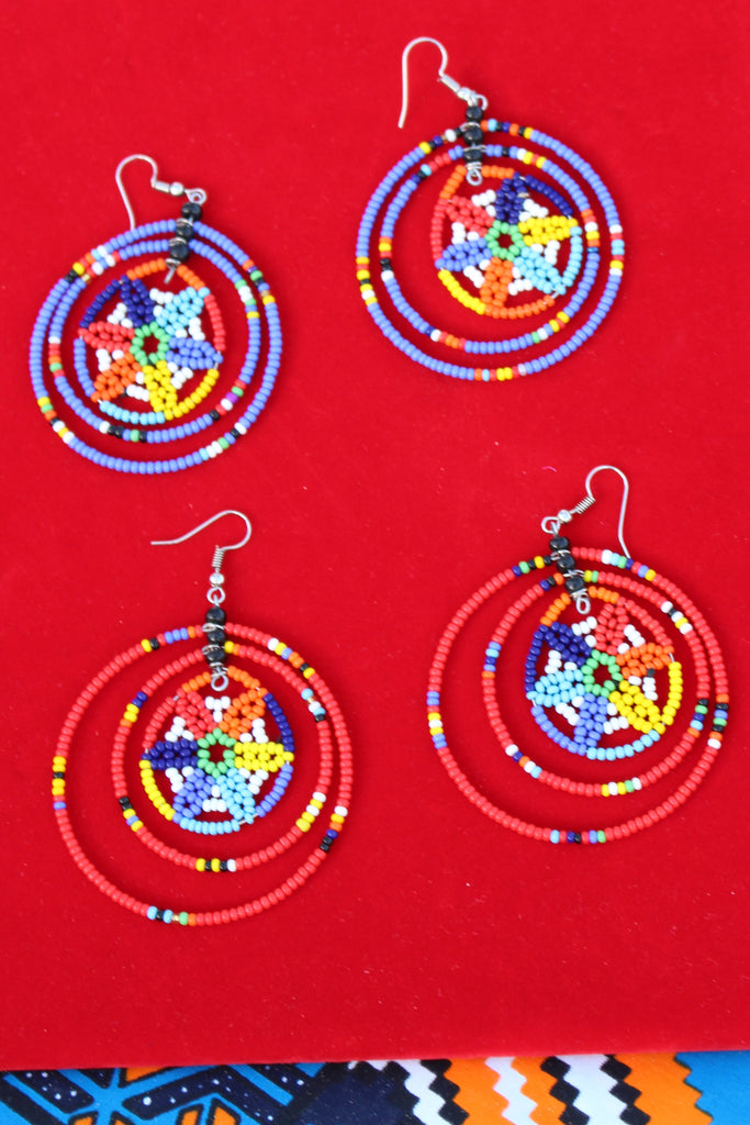 Multicolored Blue Beaded Earrings - Bridges to Borders