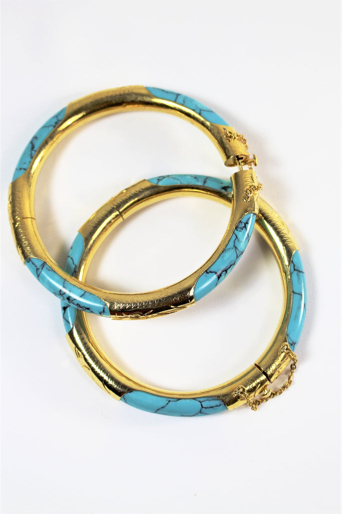 Turquoise and Brass Bangle Duo - Bridges to Borders