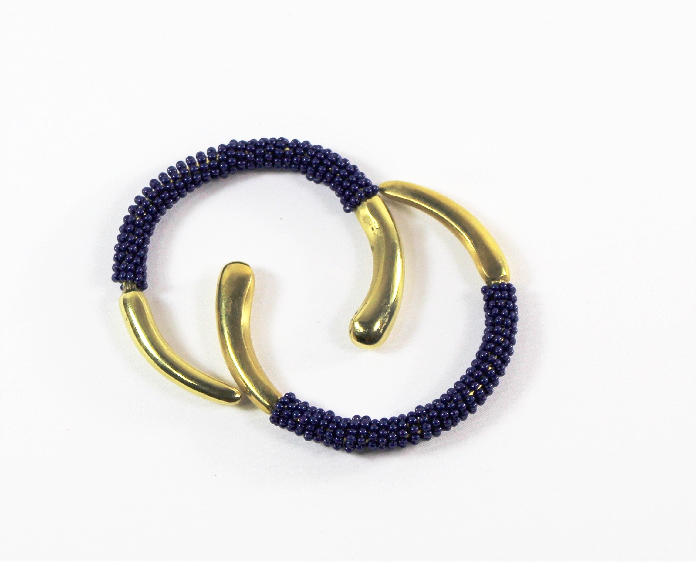Brass and Beaded Bangle Duo - Bridges to Borders