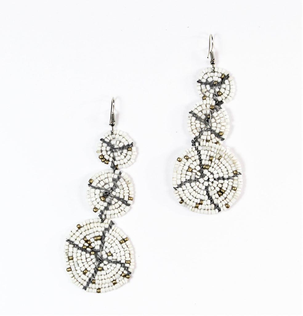 Handmade White Beaded Earrings - Bridges to Borders