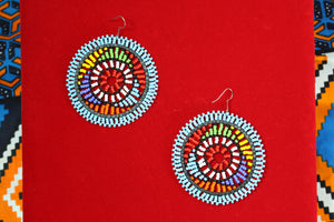 Blue Multicolored Beaded Earrings - Bridges to Borders