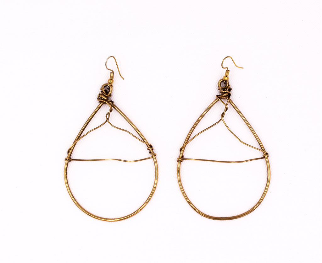 Handmade Wired Brass Earrings - Bridges to Borders
