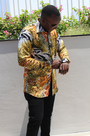 Printed Men's Silk Shirt - Bridges to Borders