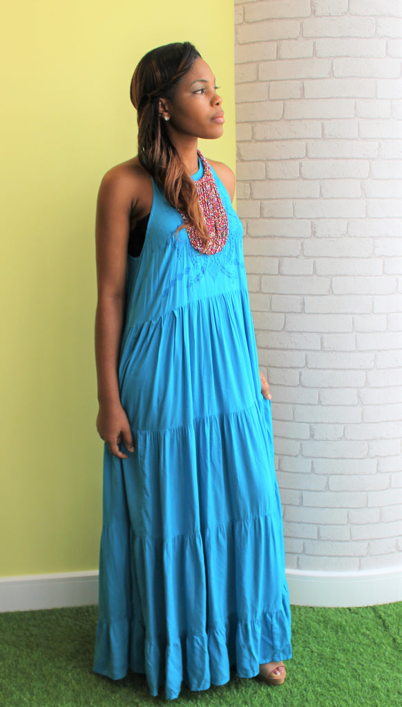 Aqua Embroidered Maxi Dress - Bridges to Borders