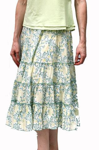Tiered Skirt in block Printed Organic Cotton