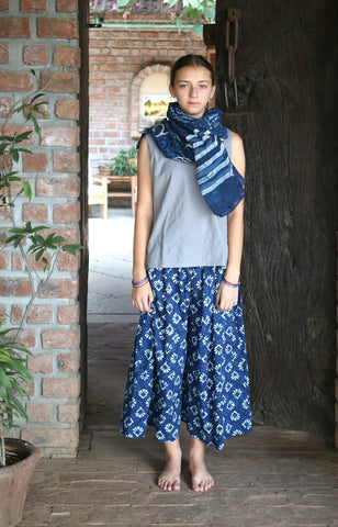 Culotte in Indigo Dabu Print Cotton