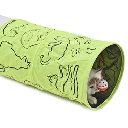 Cat Tunnel Cat Printed Green Lovely Crinkly Kitten Tunnel Toy With Ball