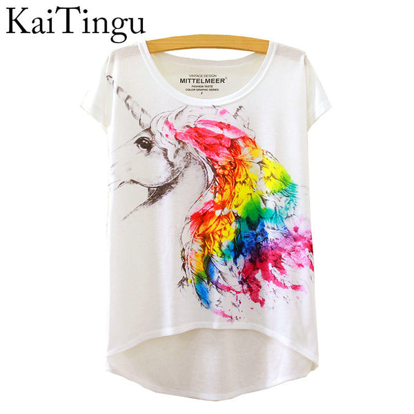 Fashion Summer Style Harajuku Magic Unicorn Print Short Sleeve T Shirt
