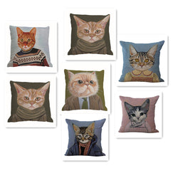 Cats Cotton Linen Square Pillow Cover - Walls 'N dreams