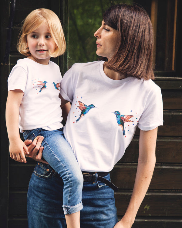 "T-shirt fille blanc  ""La part des colibris"""