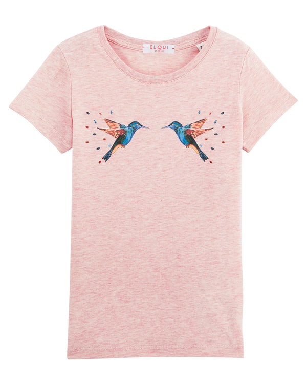 "T-shirt fille rose  ""La part des colibris"""