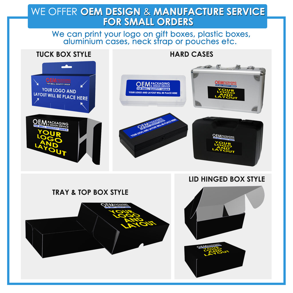 We can print your logo on gift boxes, plastic boxes, aluminium cases, neck straps, pouches, etc.