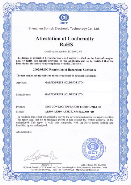 Attestation of Conformity (RoHS)