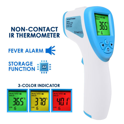 THE-291 Non-Contact Forehead lR Thermometer Infrared Human Body Surface Temperature Measurement Colored LCD Backlight, Alarm Function and Data Storage