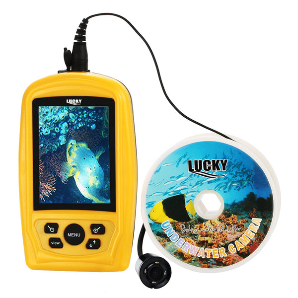 FF-3308-8 LUCKY Portable Underwater Fishing & Inspection Camera Video System Kit w/ 3.5inch Handheld Color Live-view Display Monitor, 20m Cable, Cam with Wide Angle Lens & Far-infrared LED, CMD sensor Fish Finder Sea Locator