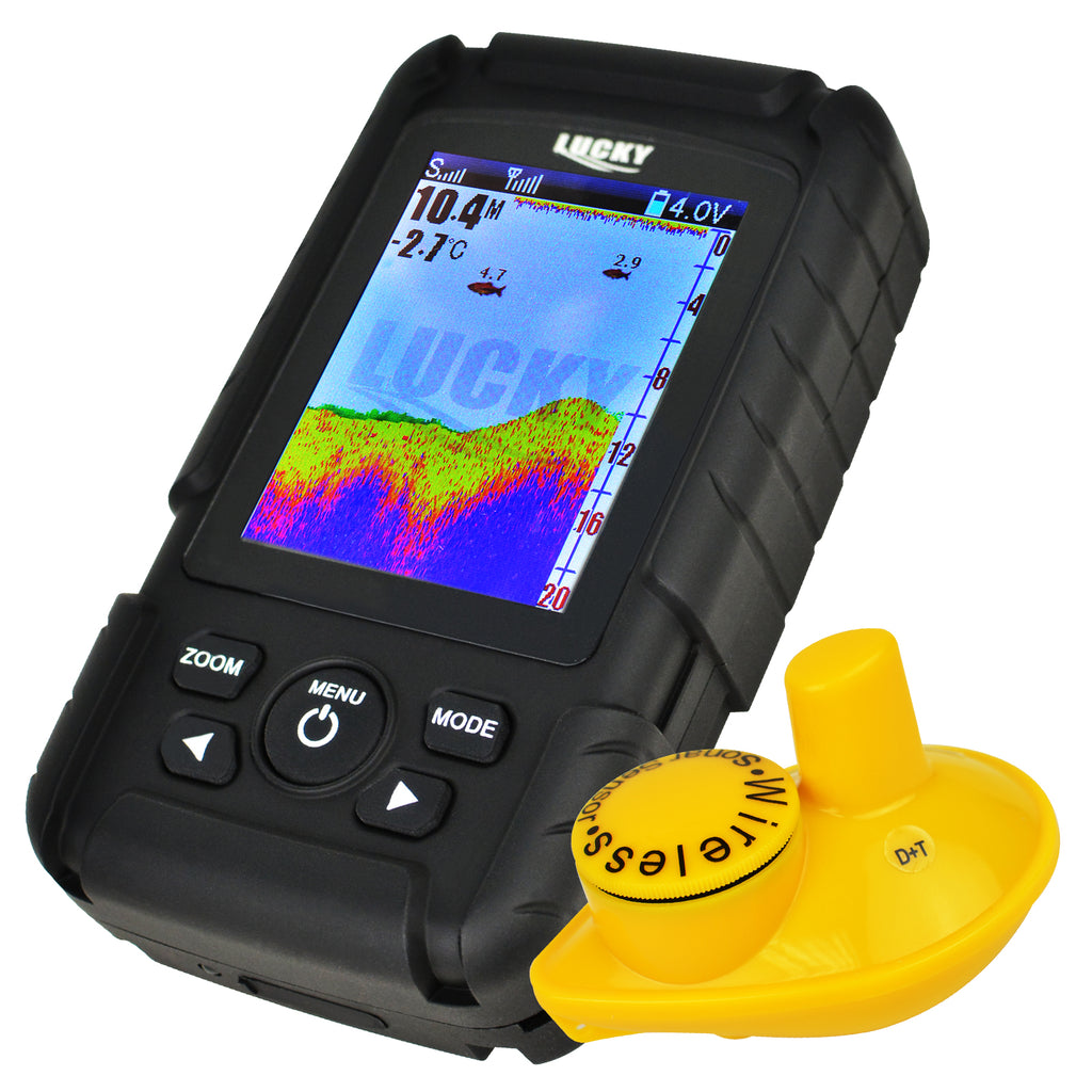 FF-718LIC-W Lucky Rechargeable Fish Finder Colored LCD Fishfinder Wireless Sonar Sensor